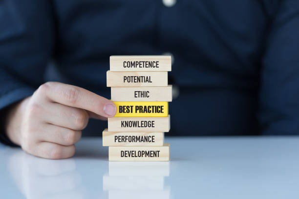 best practice concept with wooden blocks - practising stock photos and pictures
