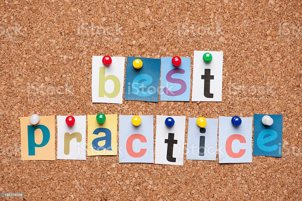 Best Practice letters on corkboard royalty-free stock photo