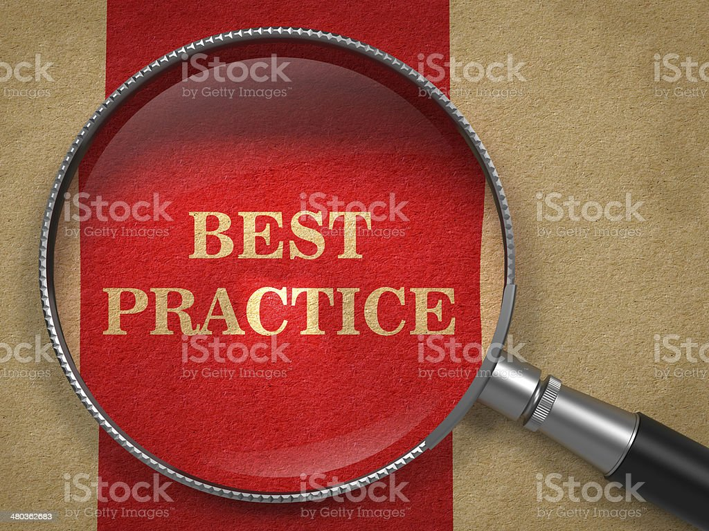 Best Practice - Magnifying Glass. stock photo