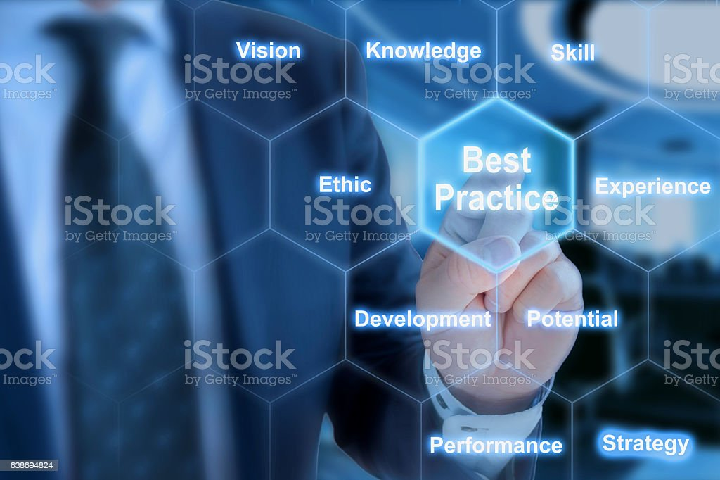 Best practices areas grid explained by businessman stock photo
