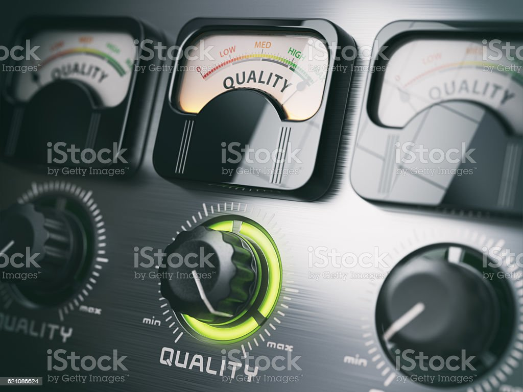 Best quality concept. Quality control switch knob on maximum pos stock photo