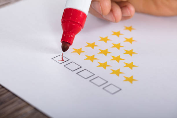 best rating concept with tick box - testimonial stock photos and pictures