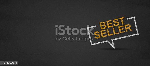 istock Best seller in speech bubble on a blackboard. 1018700014