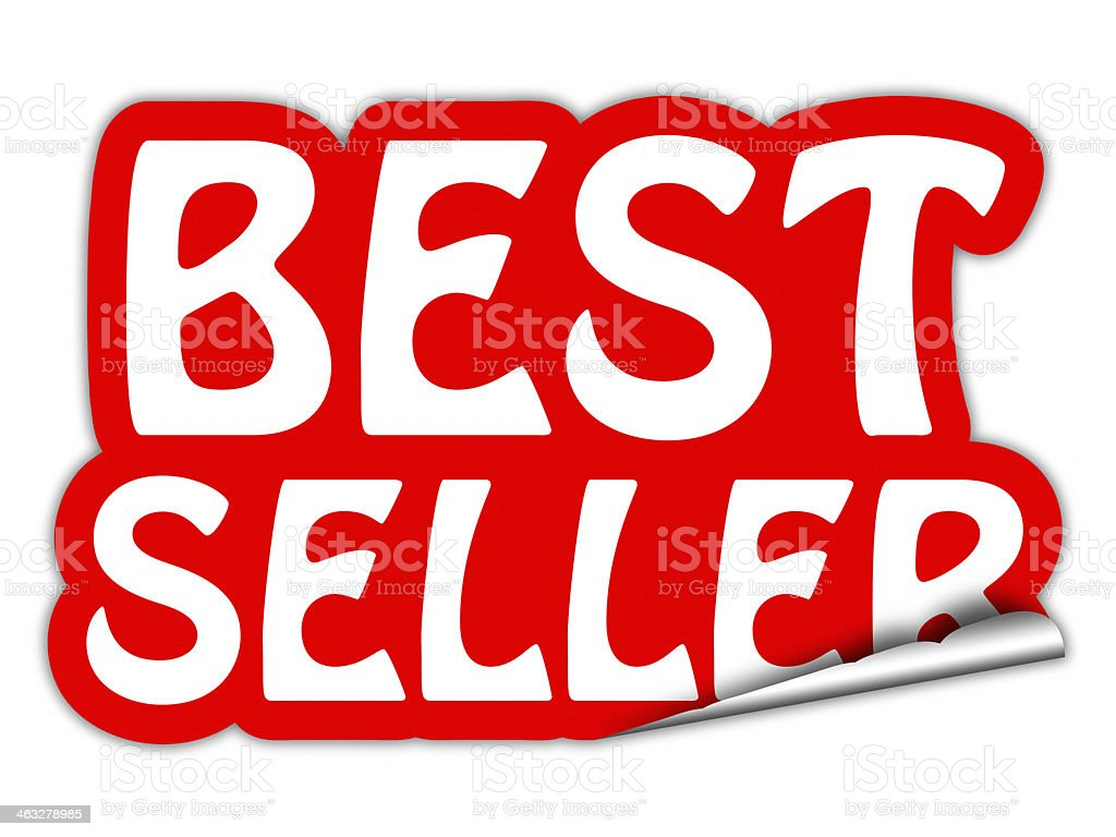 best seller red sticker stock photo