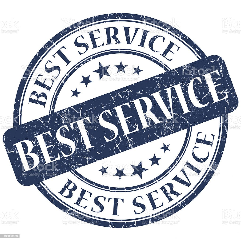 best service blue stamp stock photo