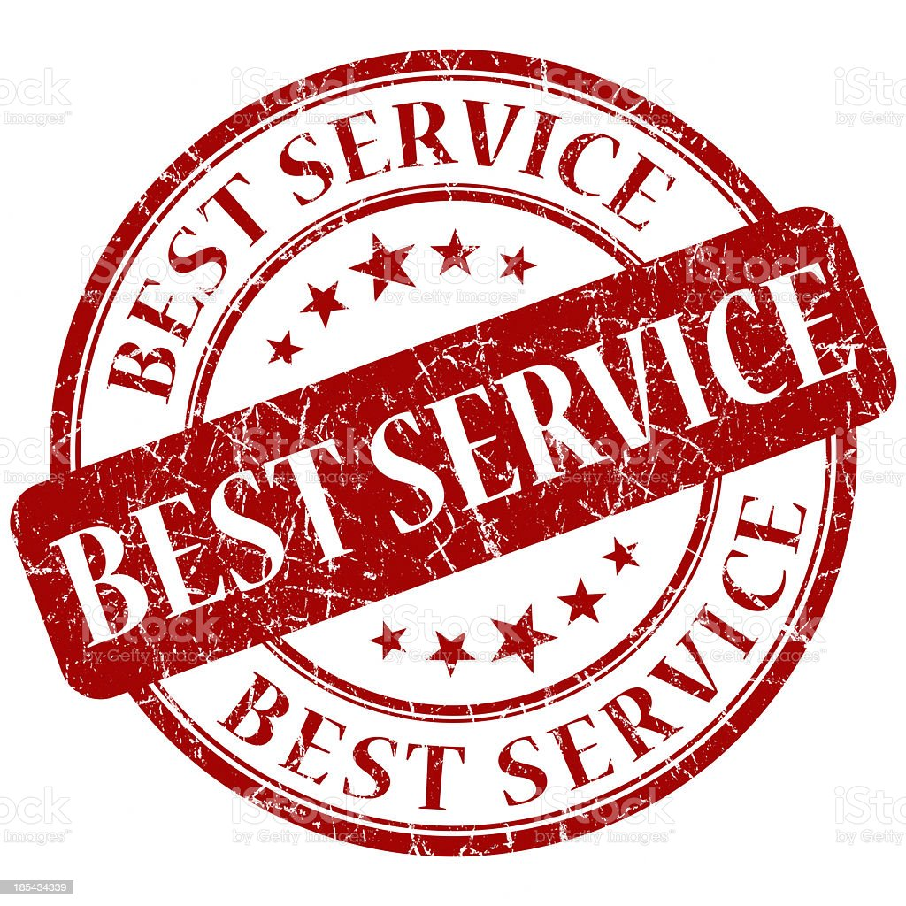 best service red round stamp stock photo
