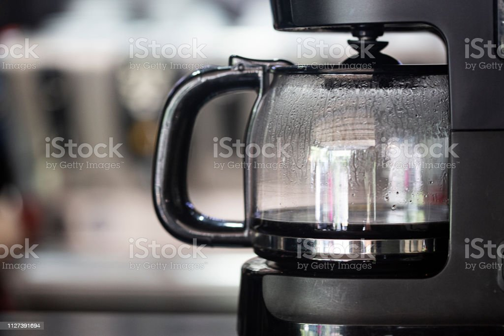 Best thing in the morning Coffee maker is ready for first coffee in the morning. Appliance Stock Photo