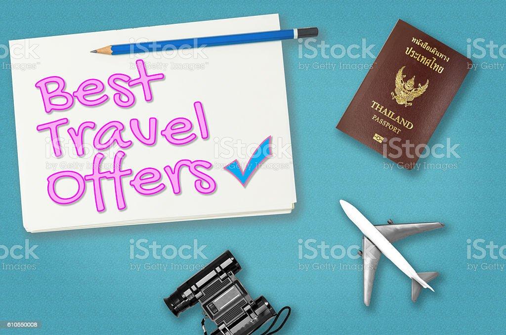 Best Travel offer for travel agency poster banner stock photo