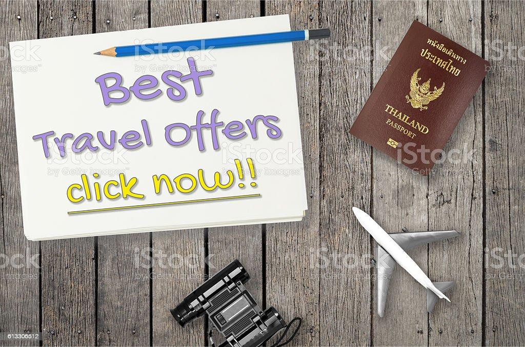 Best travel offer for travel agency website banner stock photo