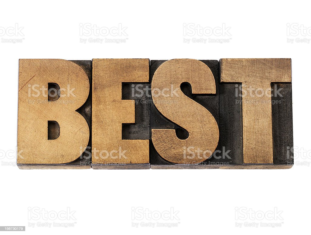 best word in wood type royalty-free stock photo