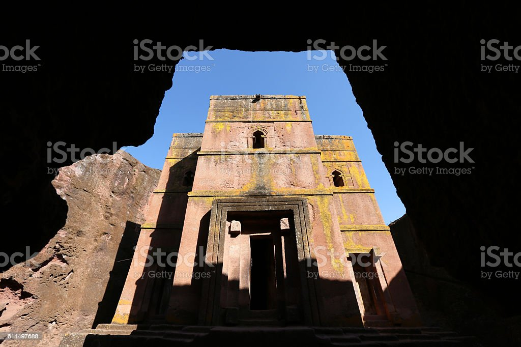 Bet Giyorgis stone church in Lalibela, Ethiopia stock photo