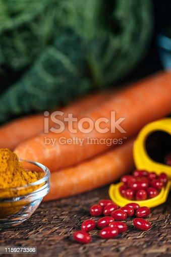 istock Beta Carotene Supplement Pills and Vegetables 1159273366