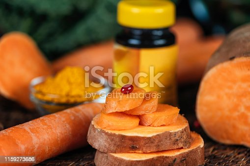 istock Beta Carotene Supplement Pills and Vegetables 1159273686