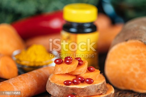 istock Beta Carotene Supplement Pills and Vegetables 1159274583