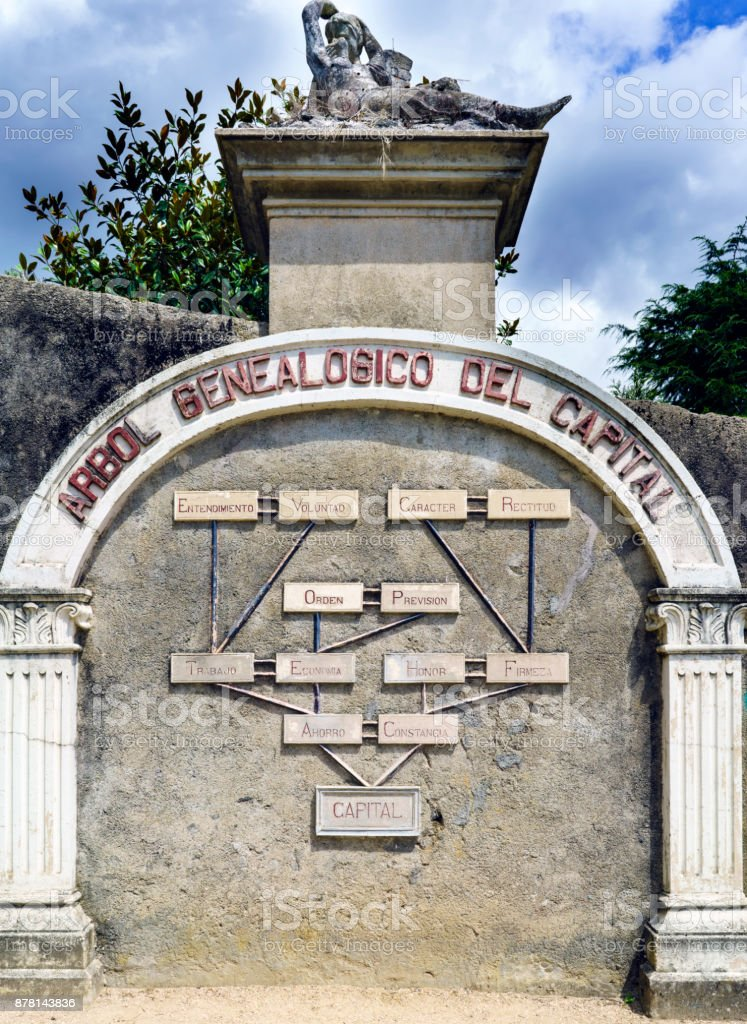 Betanzos, Galicia, Spain: Engraved overbrush called the genealogical tree of the Capital. Park of the brothers Naveira stock photo
