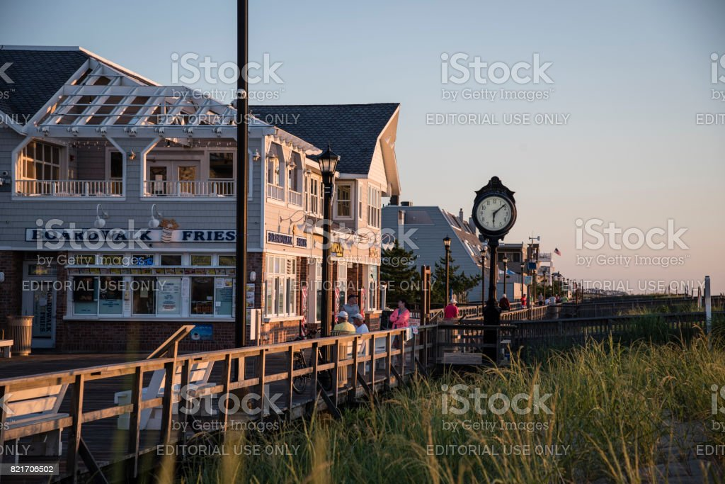 Bethany Beach Boardwalk at Sunrise stock photo