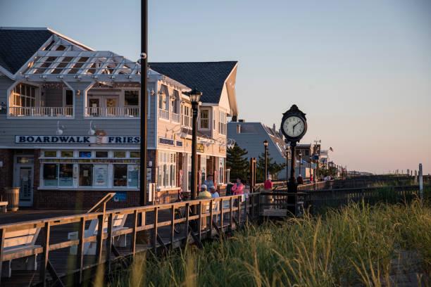 Bethany Beach Boardwalk at Sunrise stock photo