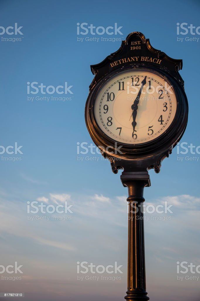 Bethany Beach Clock on the Boardwalk at Sunrise stock photo
