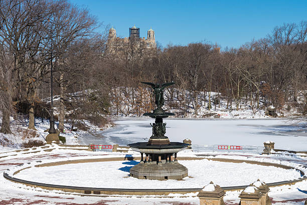 Bethesda Fountain at Central Park, New York City, during winter. stock photo