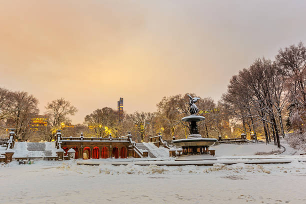 Bethesda Fountain in Central Park New York  after snow storm stock photo