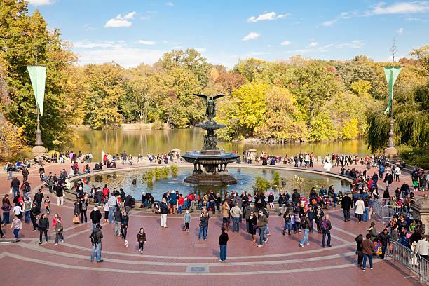 Bethesda fountain in Central park stock photo