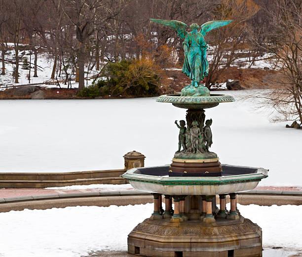 Bethesda Fountain in winter, Central Park , New York City. stock photo