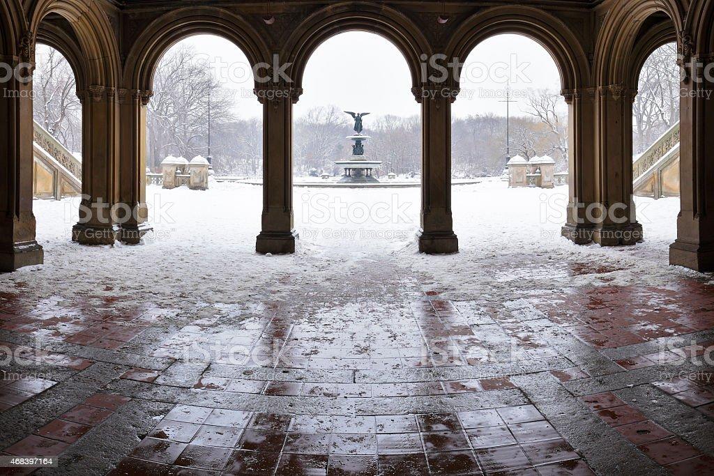 Bethesda Fountain - Winter - New York stock photo