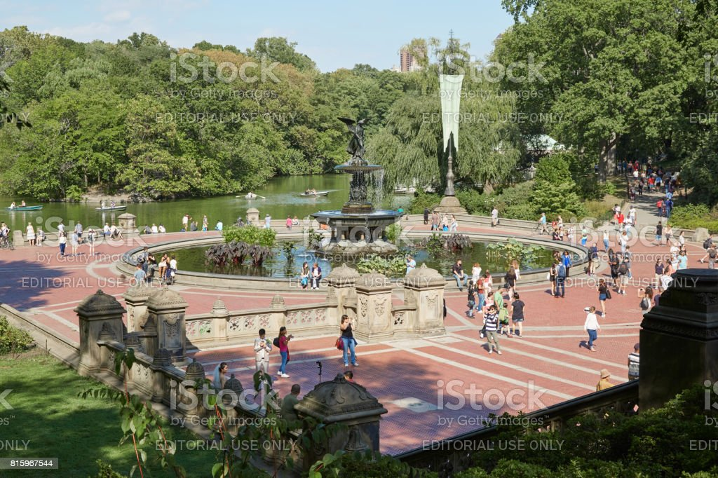Bethesda Fountain with people view from the terrace in Central Park in a sunny day in New York stock photo