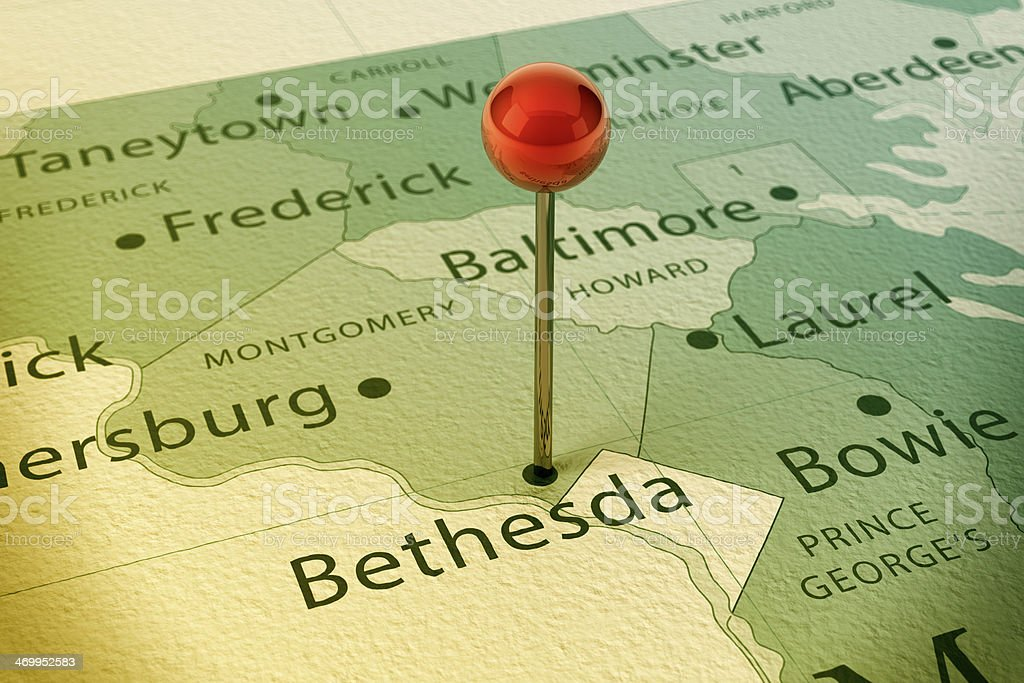 Bethesda Map City Straight Pin Vintage stock photo