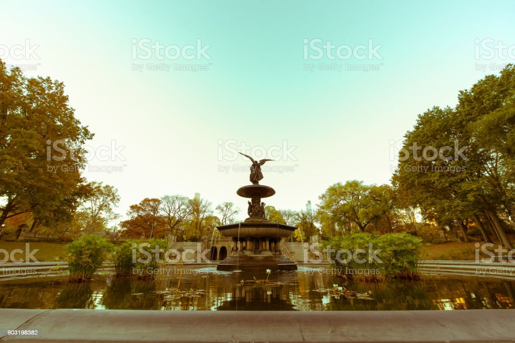 Bethesda Terrace and Fountain in New york city America stock photo