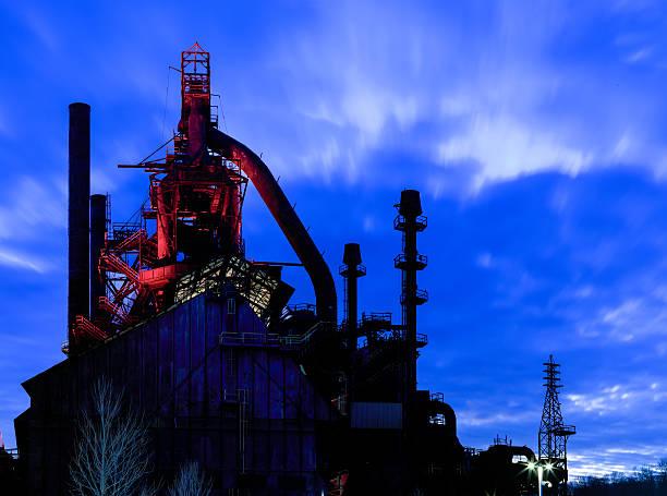 Bethlehem Steel Stacks at dusk, with lights on stock photo