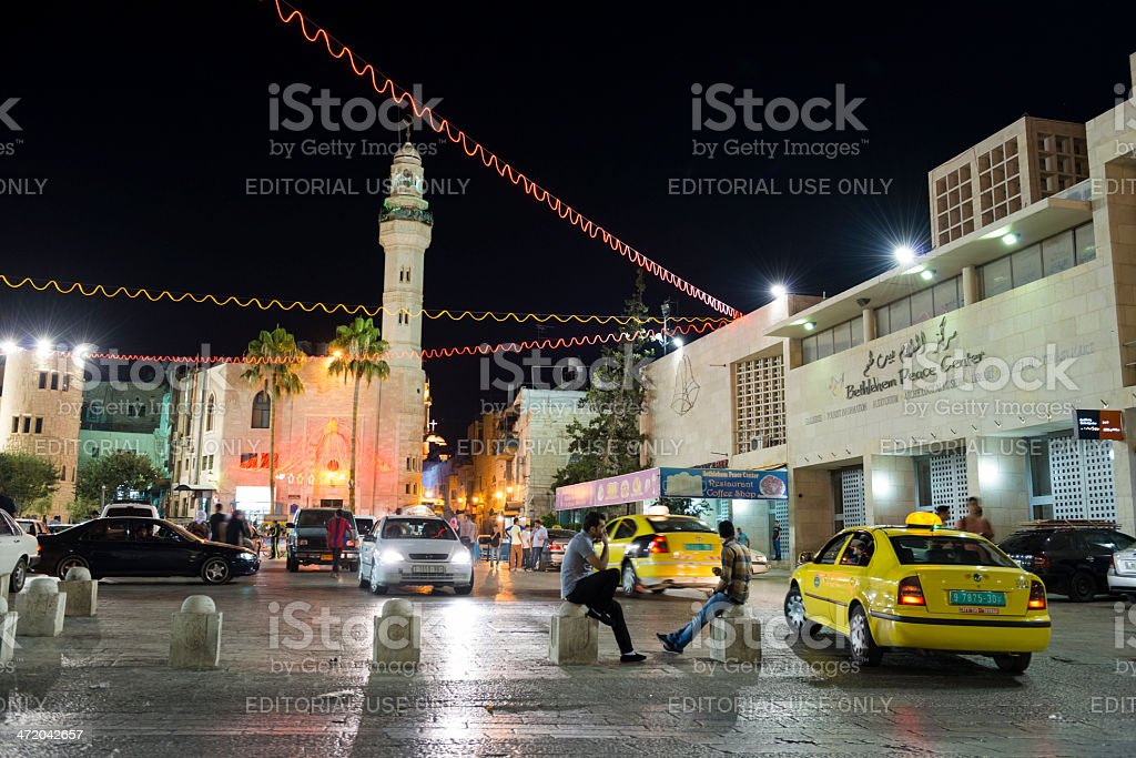 Bethlehem's Manger Square and Peace Center in Palestine stock photo