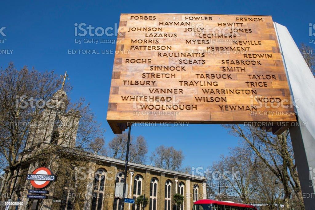 WW2 Bethnal Green Tube Disaster Memorial in London stock photo
