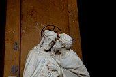 Betrayal: Judas kissing Jesus