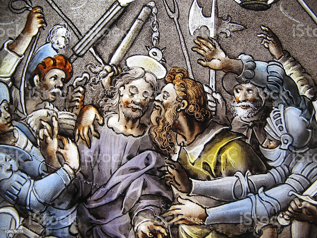 Betrayal Of Christ By Judas On A Stained Glass Window stock photo