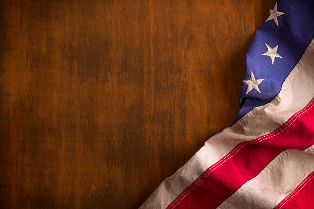 Betsy Ross Flag on Rustic Wood Background stock photo