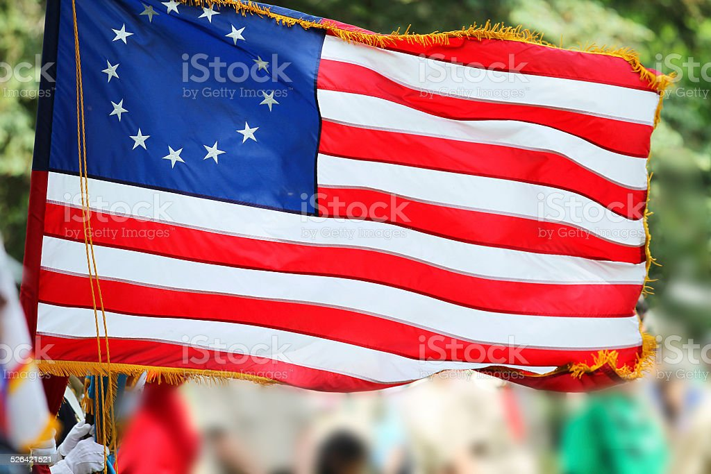 Betsy Ross Flag With Thirteen Stars and Stripes stock photo