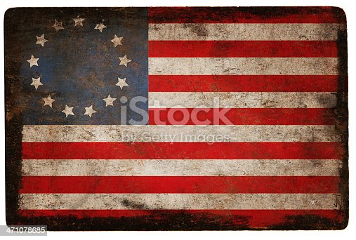 A grunge Betsy Ross Flag of the USA with a black border