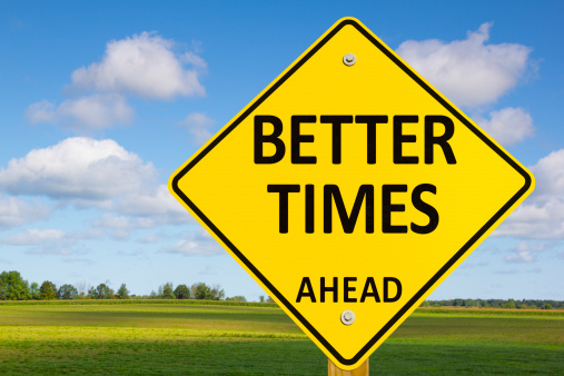 better-times-ahead-road-sign-picture-id155437038