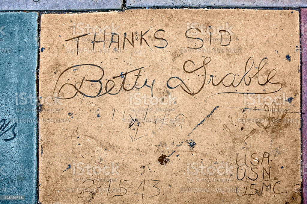 Betty Grable hand and shoe prints in Hollywood CA stock photo