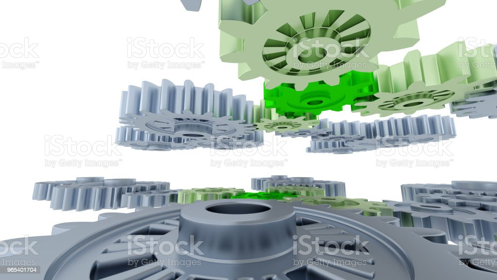 Between Gray Gears and Small Green Gears zbiór zdjęć royalty-free