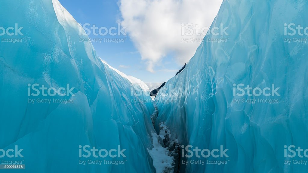 Between ice and sky, Fox Glacier, New Zealand. stock photo