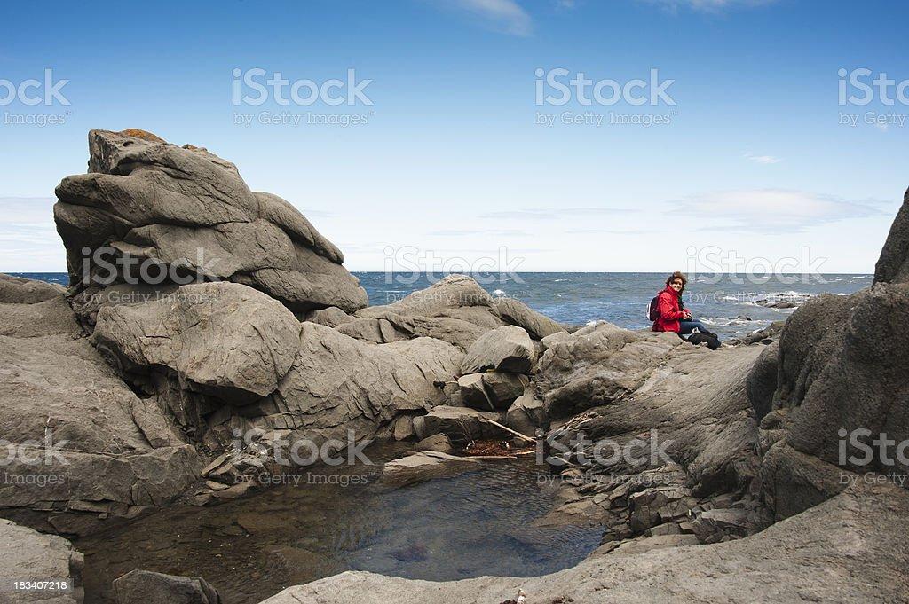 Between rock and sky. stock photo