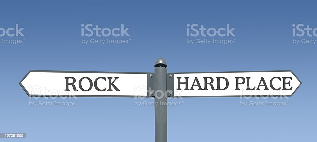 Between the Rock and a Hard Place royalty-free stock photo