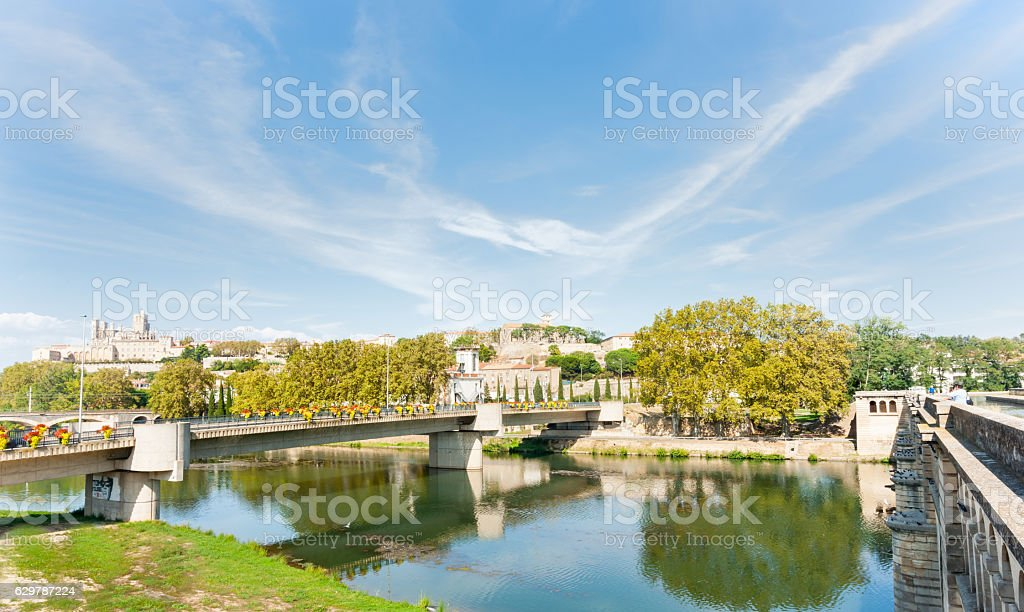 Between two bridges at Beziers view across Orb River stock photo