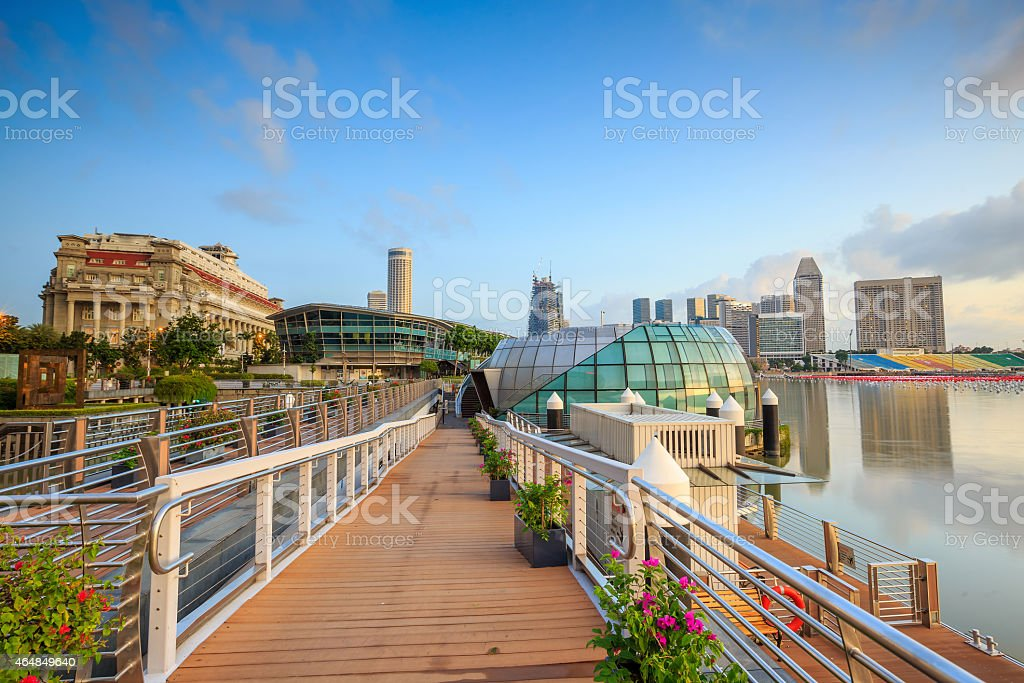 Beuatiful sunrise in the morning at Singapore stock photo