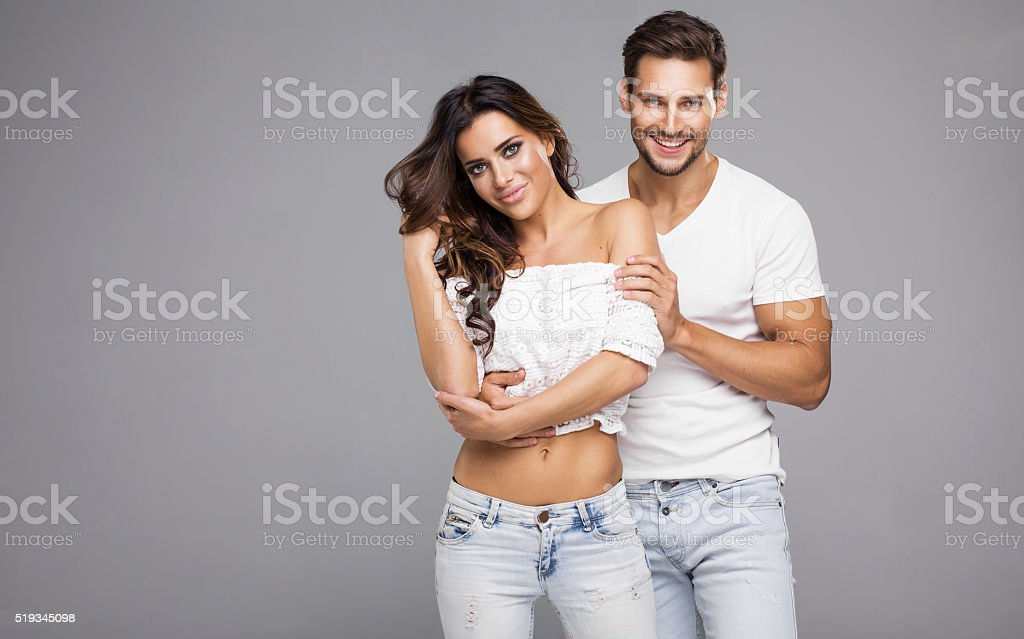 Beutiful young couple smiling stock photo
