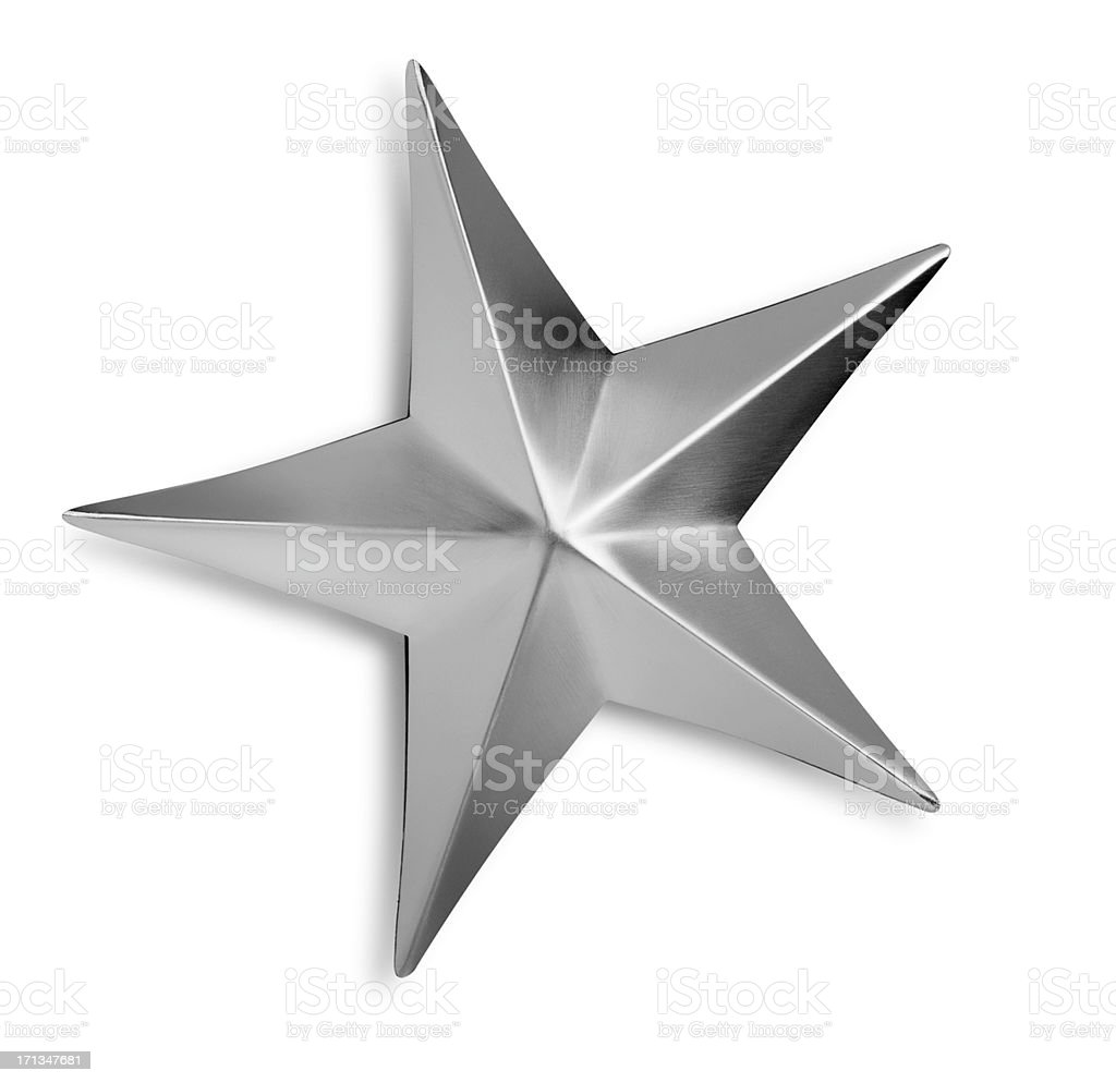 Beveled Silver Metal Star Isolated on a White background royalty-free stock photo