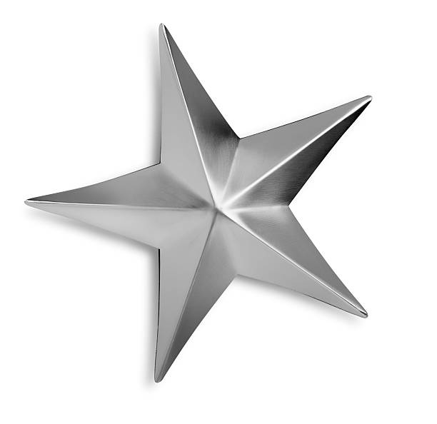 Beveled Silver Metal Star Isolated on a White background stock photo