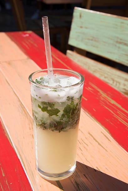 beverage mojito mint straw textured wood stock photo